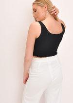 Button Through Cropped Cami Top Black