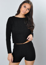 Cable Knit Loungewear Set Co Ord Black