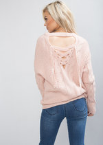 Cable Knit Lace Up Back Longline Jumper  Pink