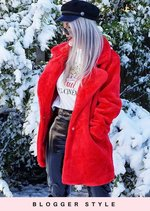 Soft Faux Fur Coat Shaggy Fully Lined Tailored Jacket Red
