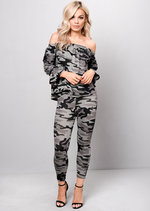 Camouflage Bardot Off Shoulder Loungewear Tracksuit Set Khaki