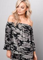 Camouflage Bardot Off Shoulder Loungewear Tracksuit Set Khaki