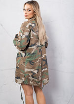 Camouflage Print Oversized Military Utility Jacket Khaki Green