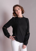 Crochet High Neck Top Blouse with Lace Detail Long Sleeve Black