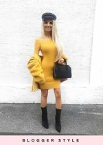 Off The Shoulder Ribbed Knitted Bodycon Dress Mustard Yellow
