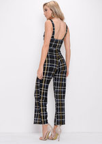 Check Print Wide Leg Jumpsuit Multi