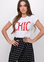 Chic Pearl Embellished Slogan T-Shirt White