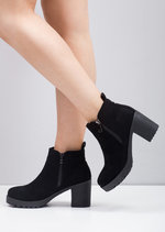 Cleated Chunky Heel Zip Chelsea Ankle Boots Black