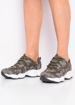 Chunky Lace Up Trainers Camo Green