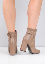 Circle Buckle Chunky Block Heeled Ankle Boots Beige