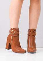Circle Buckle Chunky Block Heeled Ankle Boots Camel