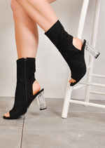 Clear Perspex Block Heel Peep Toe Cut Out Ankle Boots Black