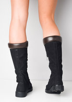 Cleated Sole Lace Up Calf Knee Boots Black