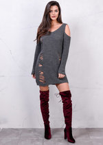 Cold Shoulder Chunky Knit Long Sleeve Distressed Jumper Dress Grey