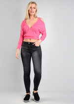 Cold Shoulder Small Ribbed Top Pink
