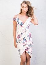 Cold Shoulder Wrap Dress Floral Pink