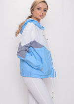 Colour Block Hooded Jacket Light Blue
