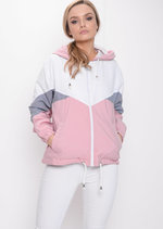 Colour Block Hooded Jacket Pink