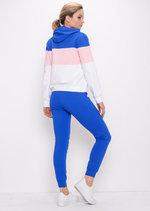 Colour Block Stripe Hooded Loungewear Set Blue