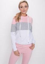 Colour Block Stripe Hooded Loungewear Set Pink