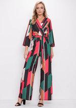 Colour Block Tie Waist Jumpsuit Multi