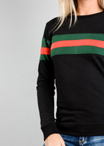 Contrast Stripe Jumper Sweatshirt Black