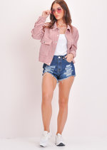 Cord Button Through Crop Trucker Jacket Pink