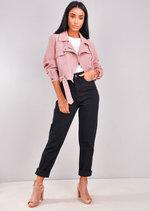 Corduroy Cropped Biker Jacket Pink