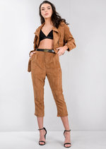 Corduroy High Rise Cropped Slim Fit Trousers Camel Brown
