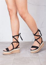 Suede Lace Up Braided Cork Wedge Flat Espadrille Sandals Black