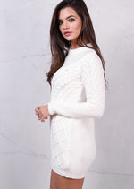 Crew NeckCable Knitted Jumper Dress Cream White