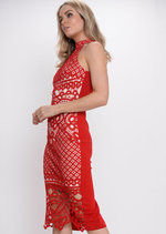 Crochet Lace High Neck Midi Dress Red