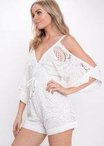 Crochet Lace Playsuit White