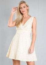 Crochet Lace V Neck Skater Dress Cream