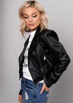 Cropped Faux Leather Biker Jacket Black