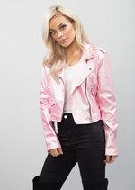 Cropped Faux Leather Biker Jacket Pink