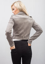 Cropped Faux Suede Biker Jacket Grey