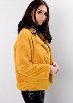 Cropped Plush Faux Fur Jacket Mustard Yellow