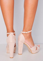 Cross Over Peep Toe Platform Heeled Sandals Faux Suede Beige