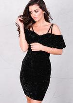 Crushed Velvet Strapped Bardot Off The Shoulder Mini Dress Black