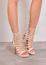 Cut Out Lace Up Open Toe Faux Suede Heels Pink Nude