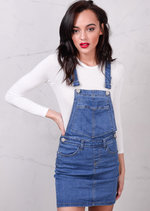 Denim Dungaree Pinafore Bodycon Dress Light Blue