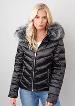 Satin Shine Faux Fur Hooded Padded Puffer Jacket Coat Black