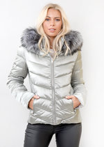 Detachable Hooded Padded Puffer Jacket Coat Silver Grey
