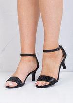 Diamante Embellished Heeled Sandals Black