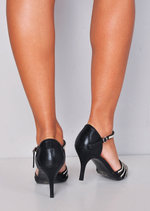 Diamante Mesh Embellished Kitten Court Heels Black