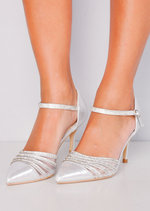 Pointed Diamante Mesh Embellished Kitten Court Heels Silver