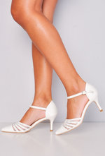 Pointed Diamante Mesh Embellished Kitten Court Heels White