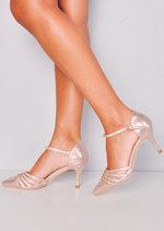 Diamante Mesh Embellished Kitten Court Heels Rose Gold