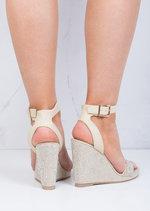 Diamante Embellished Wedge Sandals Beige